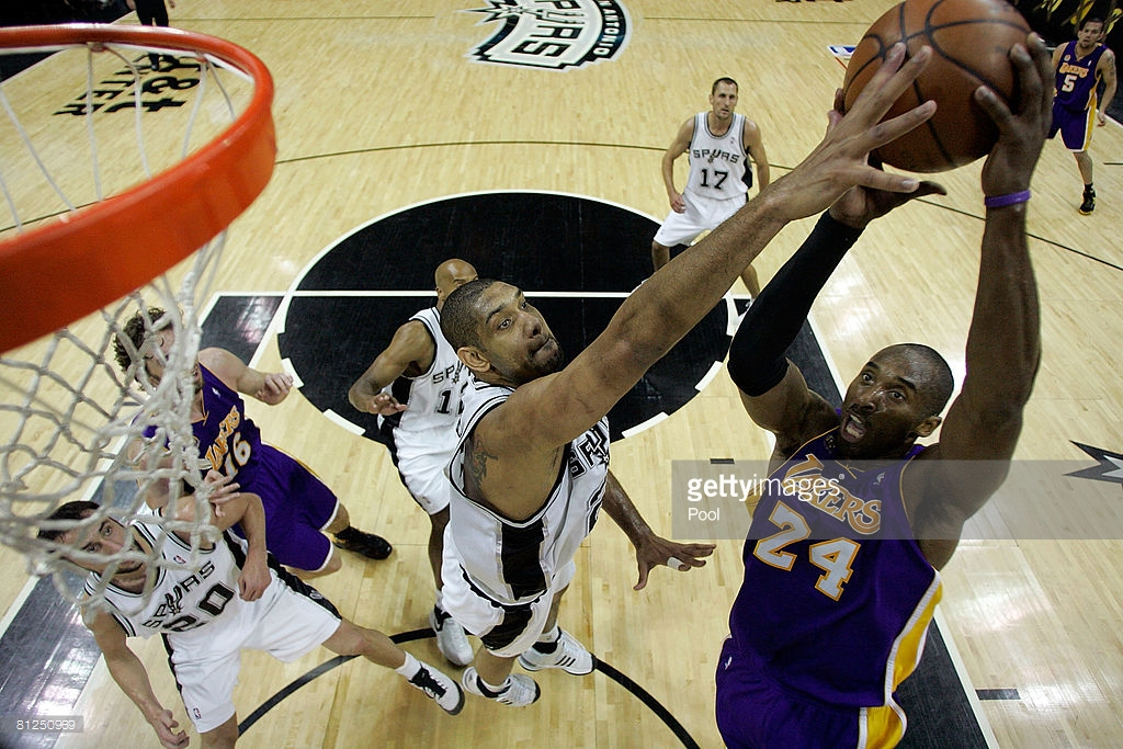 of the San Antonio Spurs of the Los Angeles Lakers in Game Four of the Western Conference Finals during the 2008 NBA Playoffs on May 27, 2008 at the AT&T Center in San Antonio, Texas. NOTE TO USER: User expressly acknowledges and agrees that, by downloading and/or using this Photograph, user is consenting to the terms and conditions of the Getty Images License Agreement.